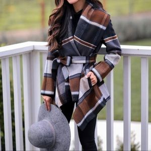 Plaid Wrap Jacket